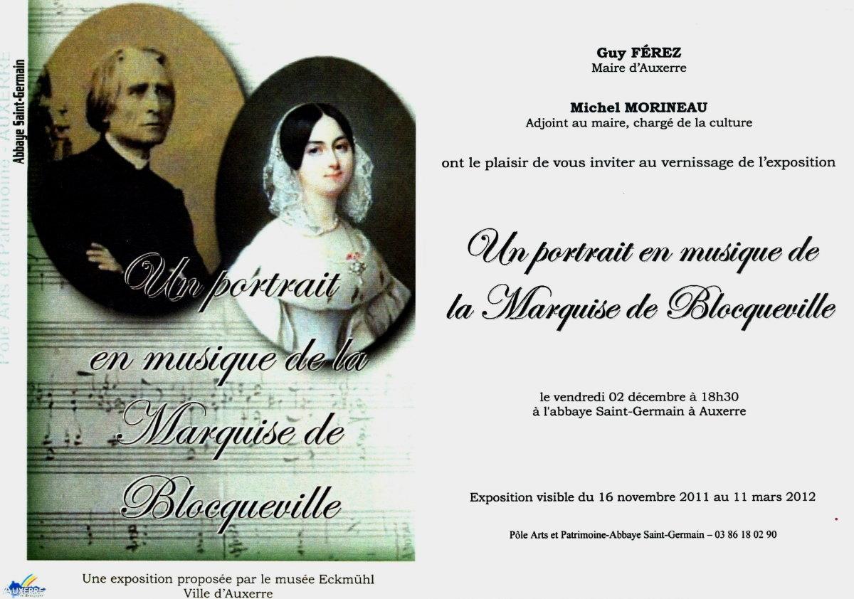"""Invitation au vernissage """"Un Portrait en musique de la marquise de Blocqueville"""""""